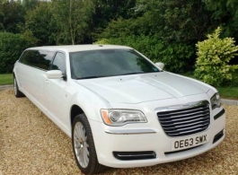 White stretch Limousine for wedding hire in Newbury